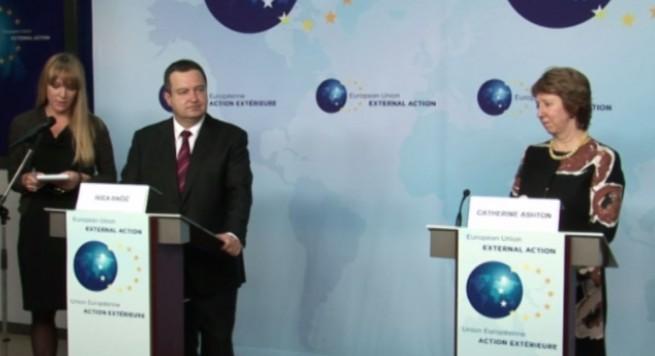 Daçiç-Ashton: Takimi i ministrave të Jashtëm dhe Financave do mbahet të enjte ne Beograd
