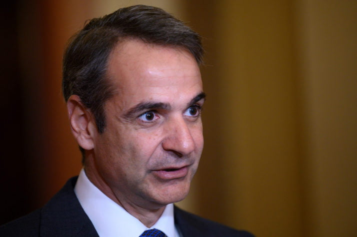 Greek Prime Minister Kyriakos Mitsotakis speaks on Capitol Hill in Washington, DC, on January 8, 2020. (Photo by JIM WATSON / AFP) (Photo by JIM WATSON/AFP via Getty Images)