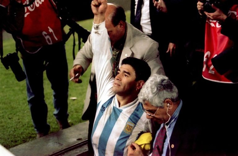 17 NOV 1993:  ARGENTINA CAPTAIN DIEGO MARADONA CELEBRATES AFTER HIS SIDE BEAT AUSTRALIA 1-0 TO QUALIFY FOR THE 1994 WORLD CUP FINALS.  Mandatory Credit: Mike Hewitt/ALLSPORT