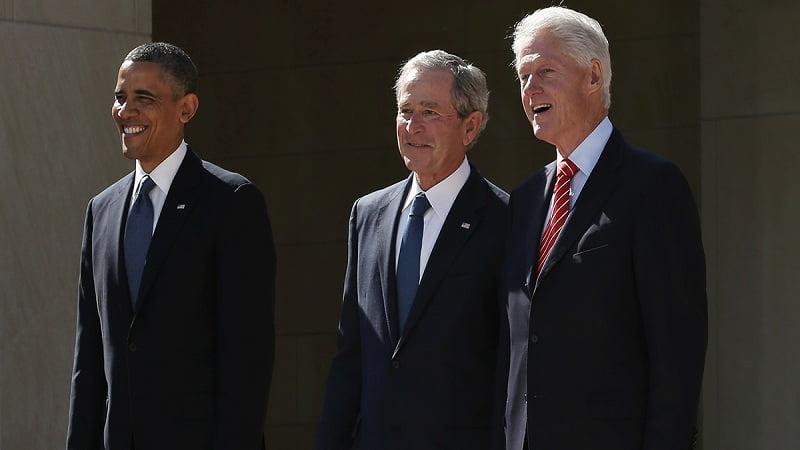DALLAS, TX - APRIL 25:  (EDITORS NOTE: Retransmission with alternate crop.) (L-R) U.S. President Barack Obama, former President George W. Bush and former President Bill Clinton attend the opening ceremony of the George W. Bush Presidential Center April 25, 2013 in Dallas, Texas. The Bush library, which is located on the campus of Southern Methodist University, with more than 70 million pages of paper records, 43,000 artifacts, 200 million emails and four million digital photographs, will be opened to the public on May 1, 2013. The library is the 13th presidential library in the National Archives and Records Administration system.  (Photo by Alex Wong/Getty Images)